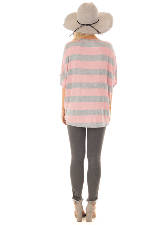 Blush and Grey Striped Top with Front Tie back full body