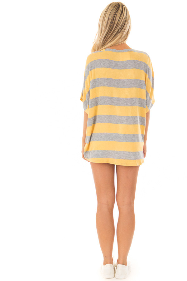 Dandelion and Grey Striped Top with Front Tie back full body