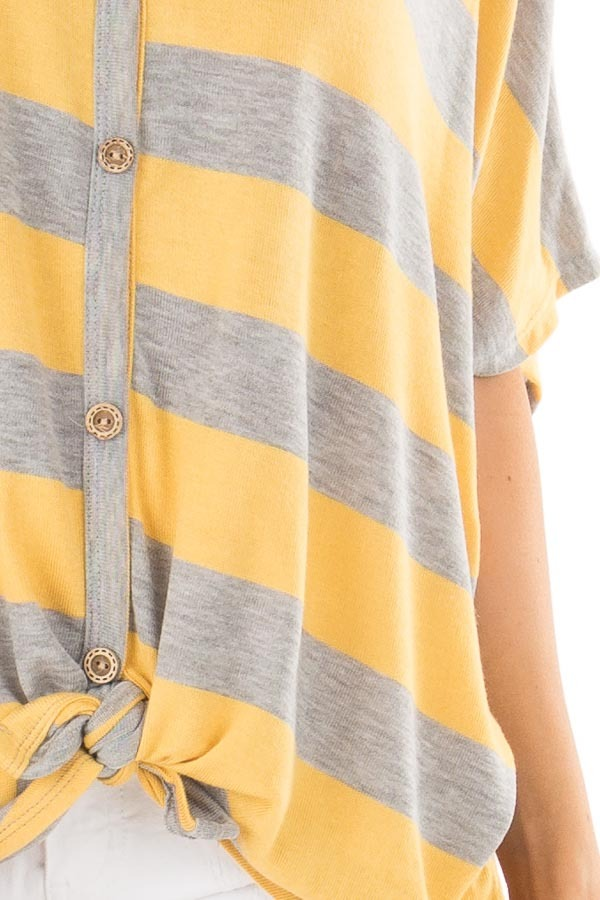 Dandelion and Grey Striped Top with Front Tie detail