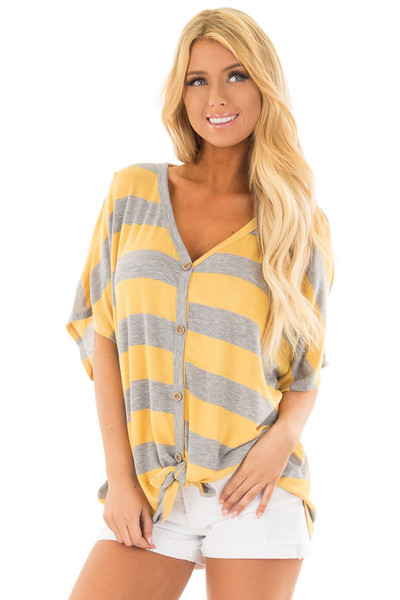 Dandelion and Grey Striped Top with Front Tie front close up