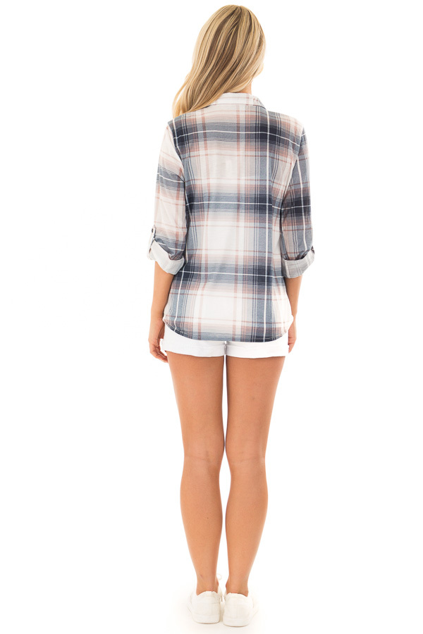 Denim Blue and Light Rose Plaid Roll Up Long Sleeves Top back full body