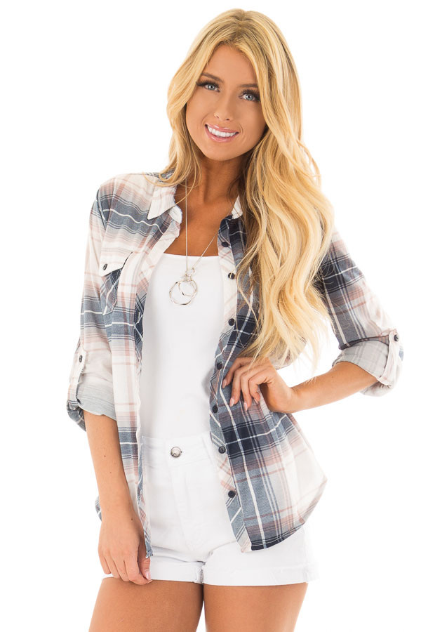 Denim Blue and Light Rose Plaid Roll Up Long Sleeves Top front close up