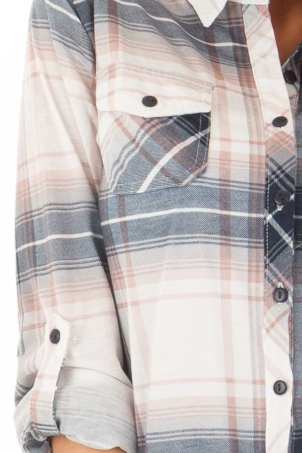 Denim Blue and Light Rose Plaid Roll Up Long Sleeves Top detail