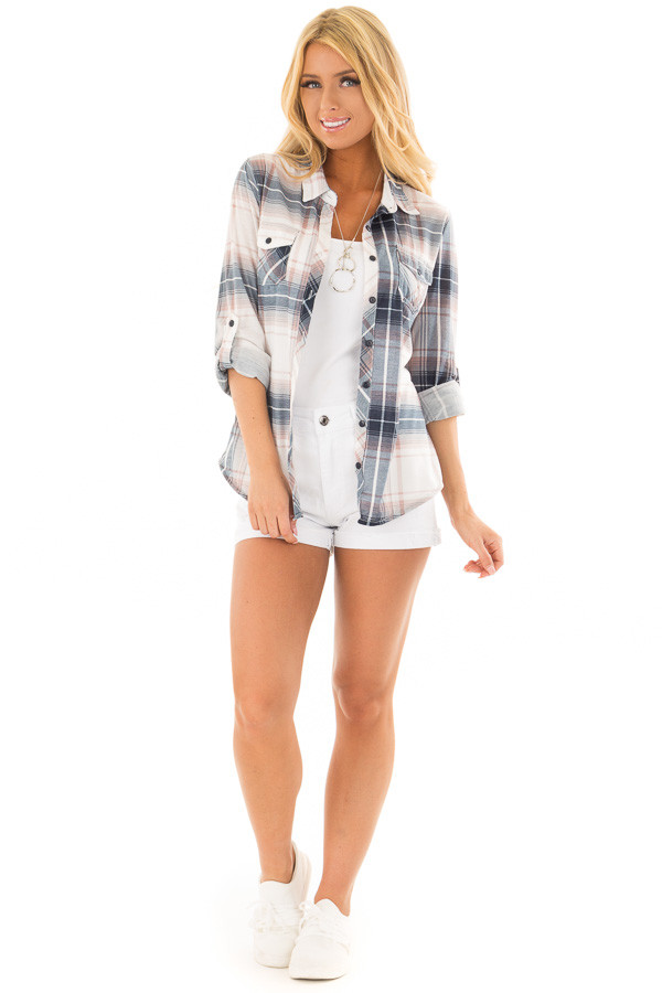 Denim Blue and Light Rose Plaid Roll Up Long Sleeves Top front full body