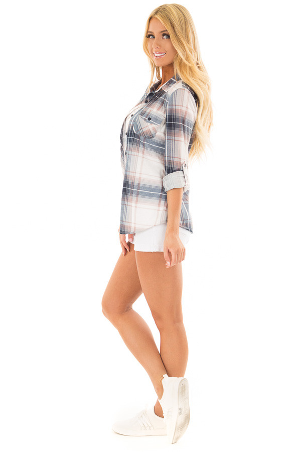 Denim Blue and Light Rose Plaid Roll Up Long Sleeves Top side full body
