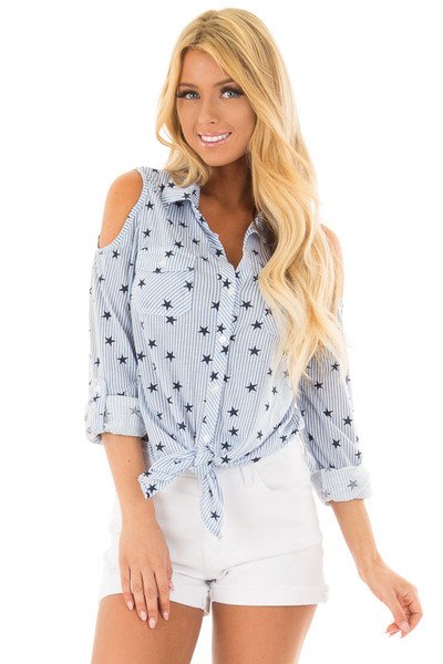 Light Blue Cold Shoulder Striped and Star Front Tie Top front close up
