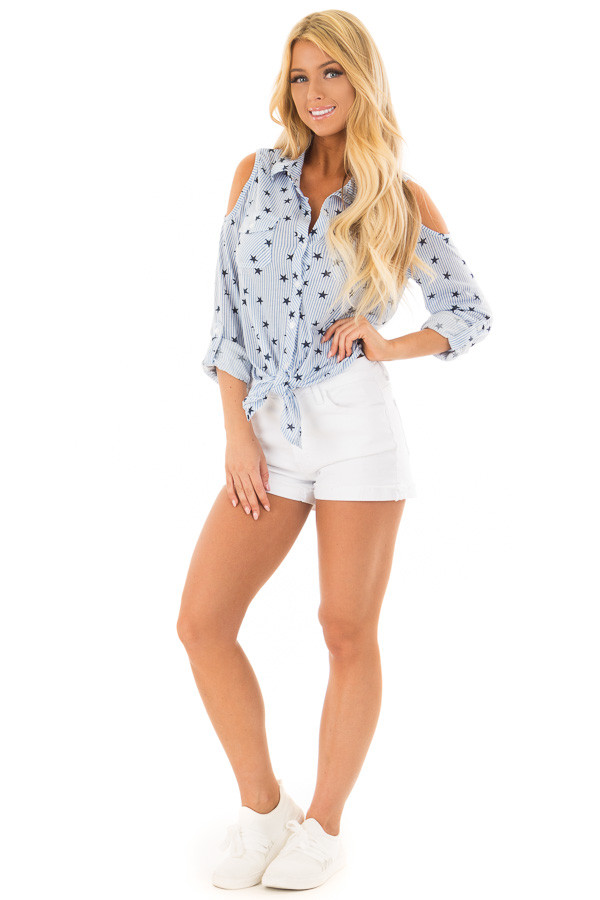 Light Blue Cold Shoulder Striped and Star Front Tie Top front full body