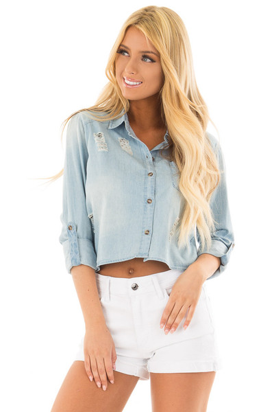 Medium Denim Distressed Button Up 3/4 Roll Up Sleeve Top front close up