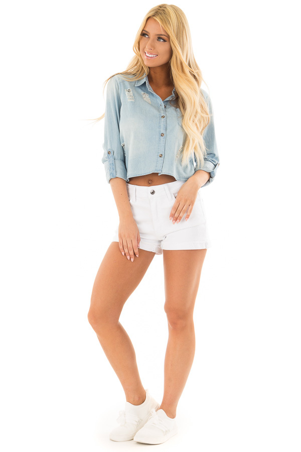 Medium Denim Distressed Button Up 3/4 Roll Up Sleeve Top front full body