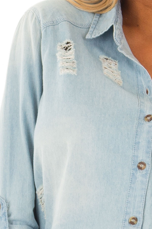 Medium Denim Distressed Button Up 3/4 Roll Up Sleeve Top detail