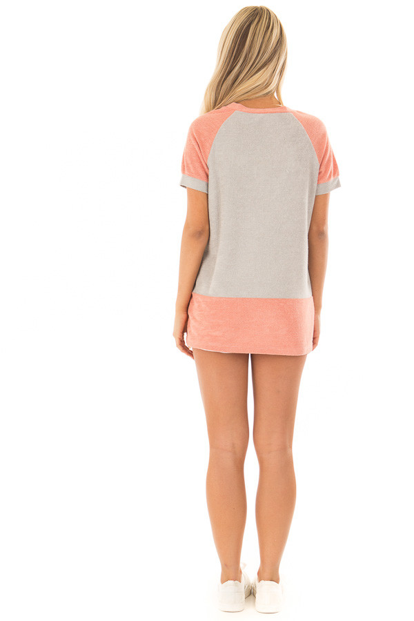 Coral and Grey Raglan Short Sleeve Top with Hidden Pockets back full body
