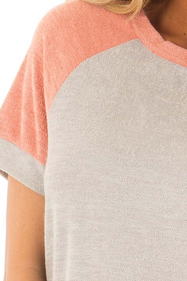 Coral and Grey Raglan Short Sleeve Top with Hidden Pockets detail