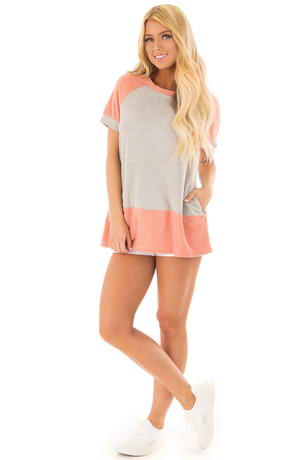 Coral and Grey Raglan Short Sleeve Top with Hidden Pockets front full body