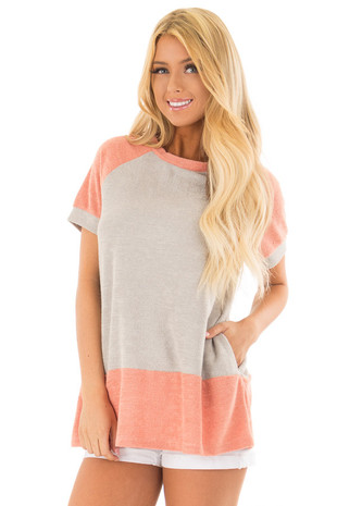 Coral and Grey Raglan Short Sleeve Top with Hidden Pockets front close up
