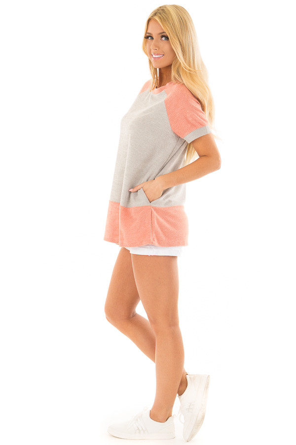 Coral and Grey Raglan Short Sleeve Top with Hidden Pockets side full body