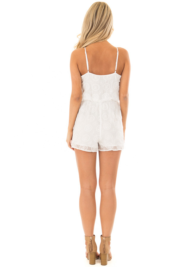 White Lace Romper with Criss Cross V Neckline back full body