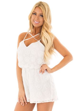 White Lace Romper with Criss Cross V Neckline front close up