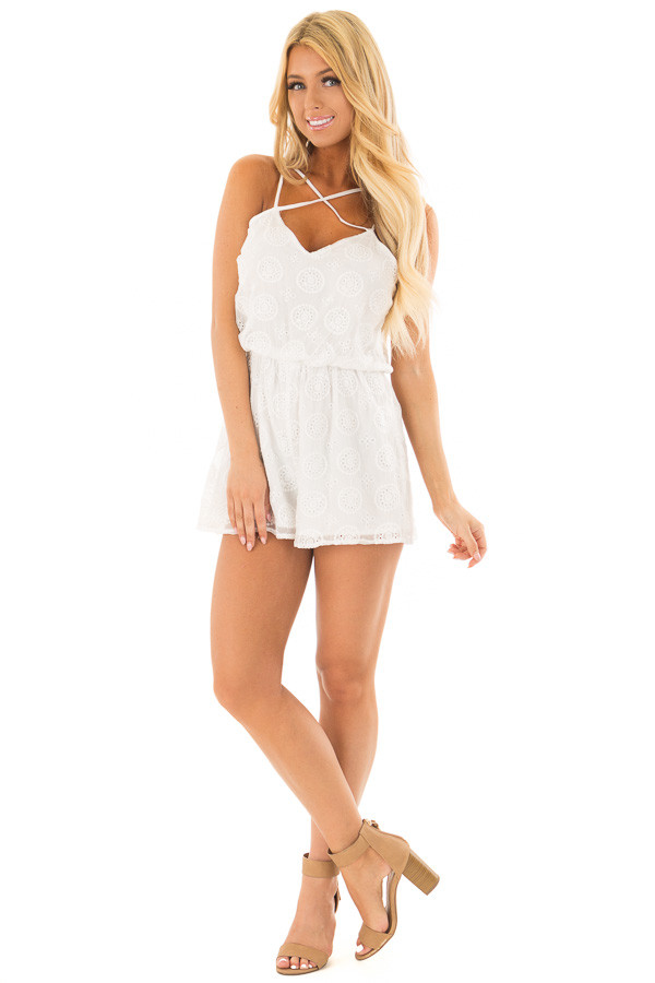 White Lace Romper with Criss Cross V Neckline front full body