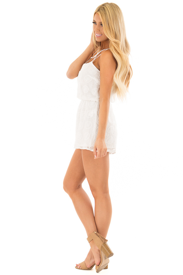 White Lace Romper with Criss Cross V Neckline side full body