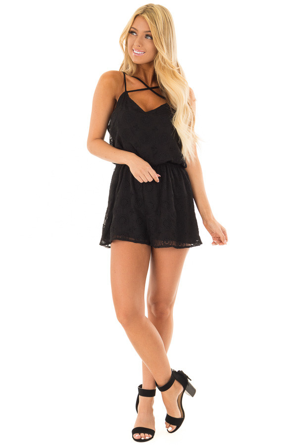 Black Lace Romper with Criss Cross V Neckline front full body