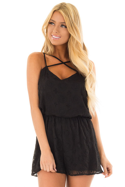 Black Lace Romper with Criss Cross V Neckline front close up