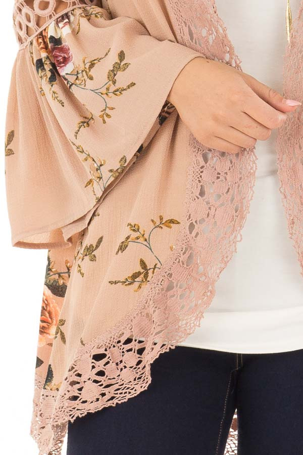 Mocha Floral Print Kimono with Lace Details and Bell Sleeves detail