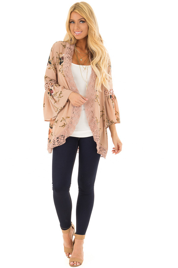 Mocha Floral Print Kimono with Lace Details and Bell Sleeves front full body