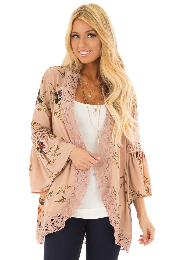 Mocha Floral Print Kimono with Lace Details and Bell Sleeves front close up