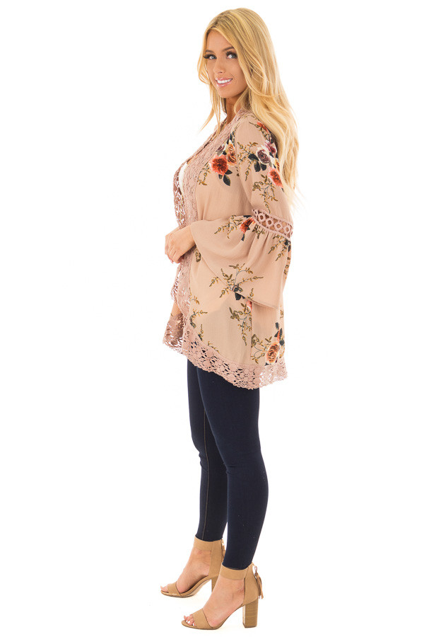 Mocha Floral Print Kimono with Lace Details and Bell Sleeves side full body