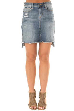 Medium Wash Hi Low Distressed Denim Skirt front view