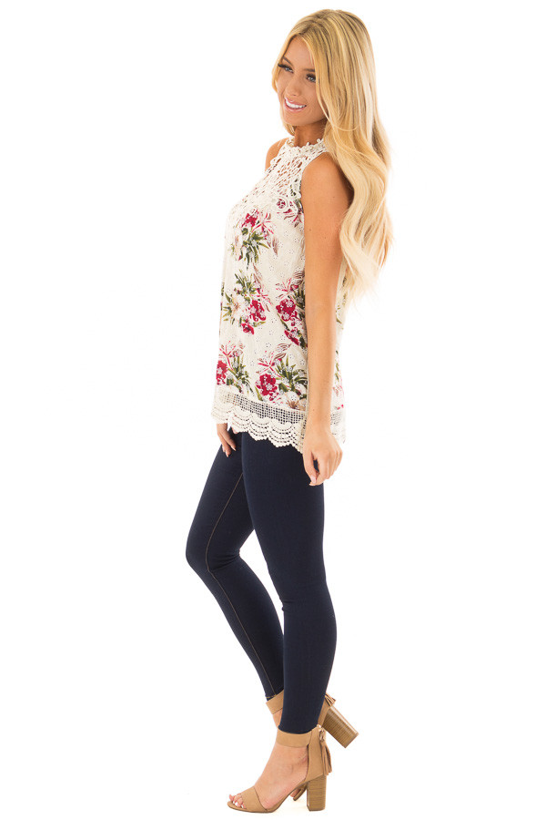 Natural Floral Print Tank Top with Sheer Crochet Yoke side full body