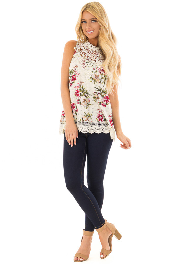 Natural Floral Print Tank Top with Sheer Crochet Yoke front full body