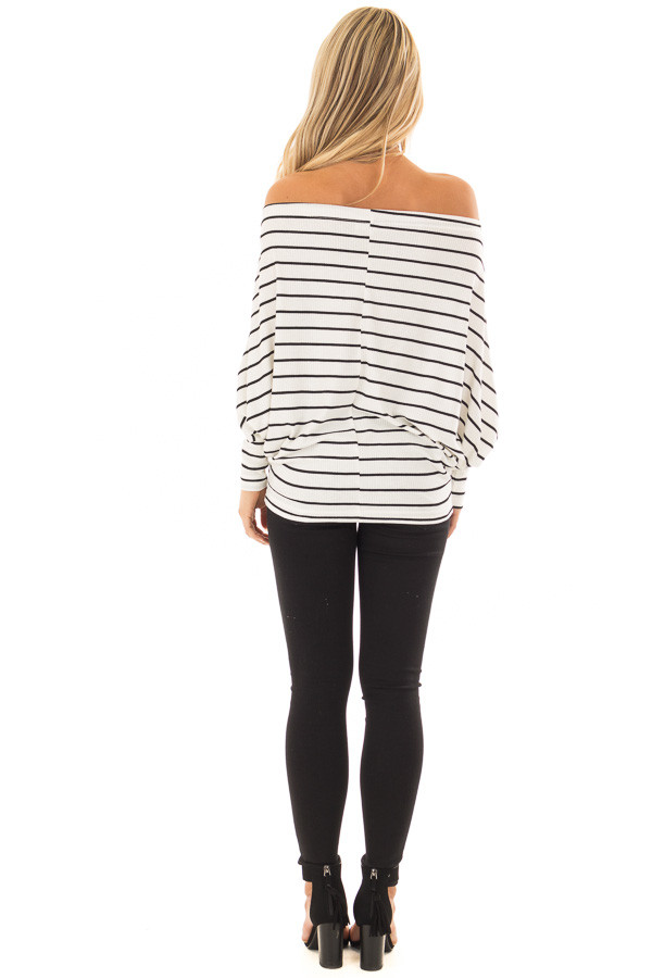 Black and White Striped Off Shoulder Top with Dolman Sleeves back full body