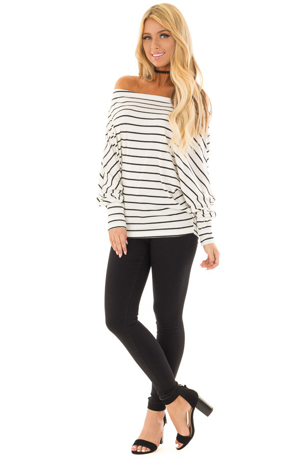 Black and White Striped Off Shoulder Top with Dolman Sleeves front full body