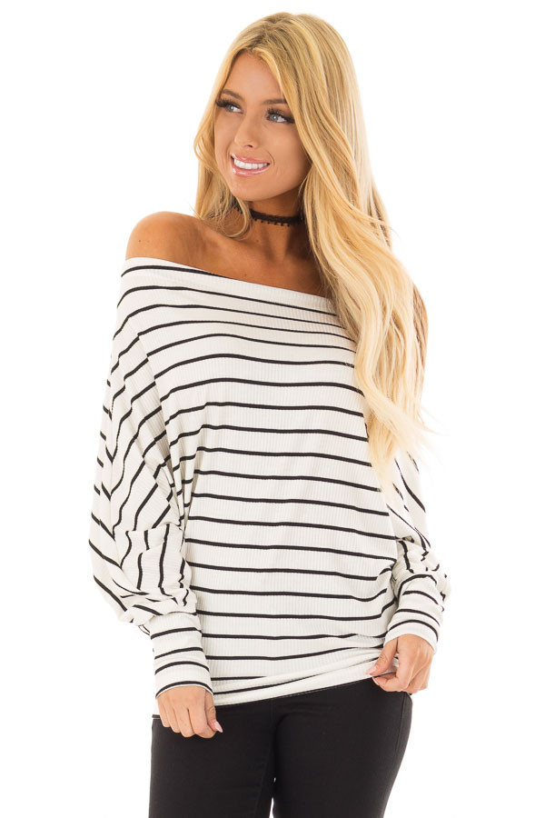 Black and White Striped Off Shoulder Top with Dolman Sleeves front close up