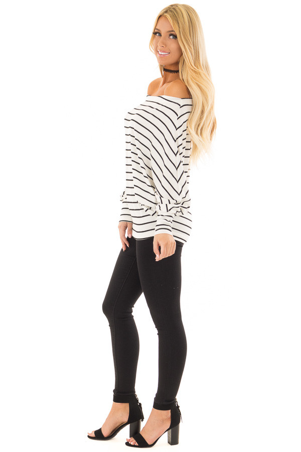 Black and White Striped Off Shoulder Top with Dolman Sleeves side full body