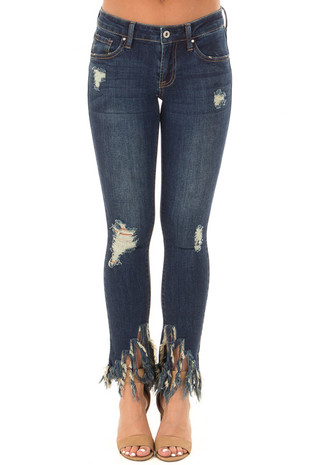 Dark Wash Distressed Denim Jeans with Frayed Hem front view