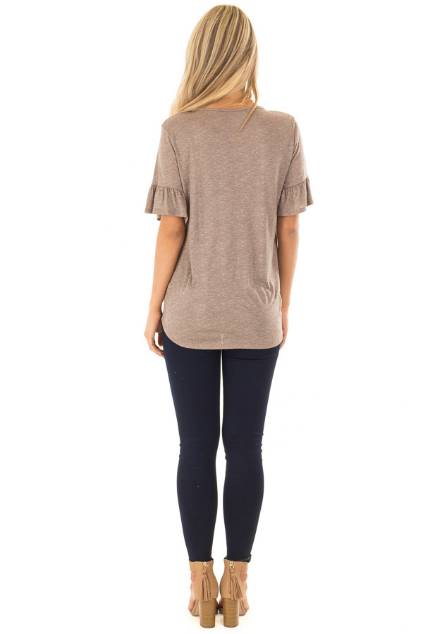 Mocha Top with Front Tie and Flare Cuffs back full body