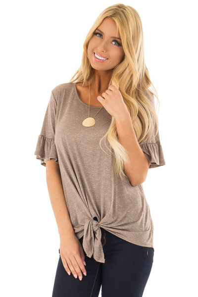 Mocha Top with Front Tie and Flare Cuffs front close up