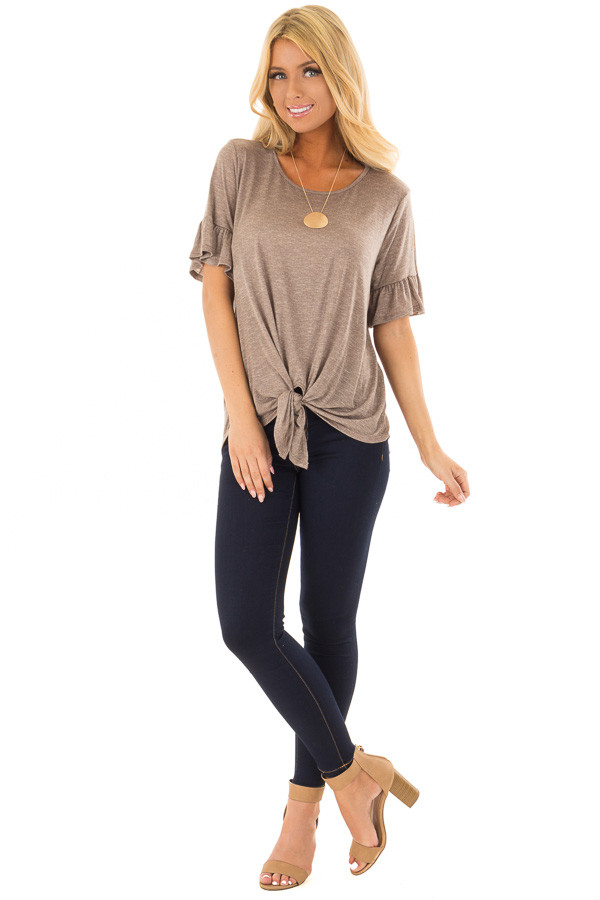 Mocha Top with Front Tie and Flare Cuffs front full body