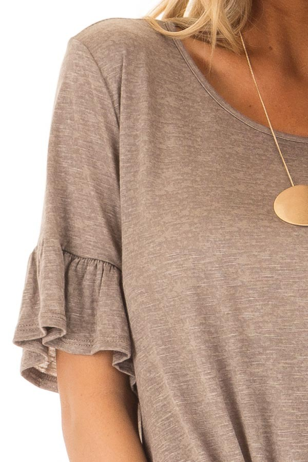 Mocha Top with Front Tie and Flare Cuffs detail