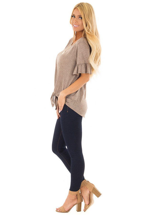 Mocha Top with Front Tie and Flare Cuffs side full body