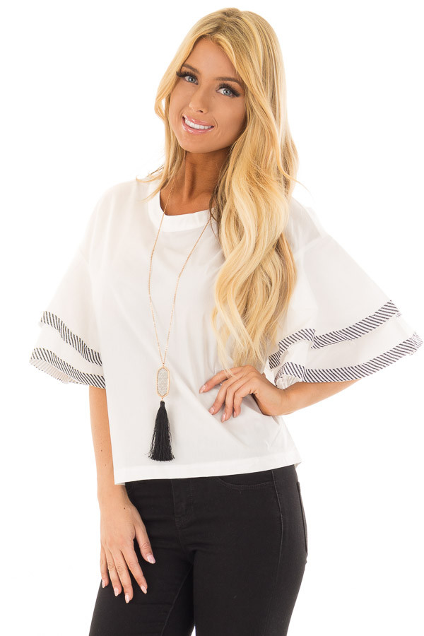 White Short Bell Sleeve Top with Navy Striped Self Tie Back front close up