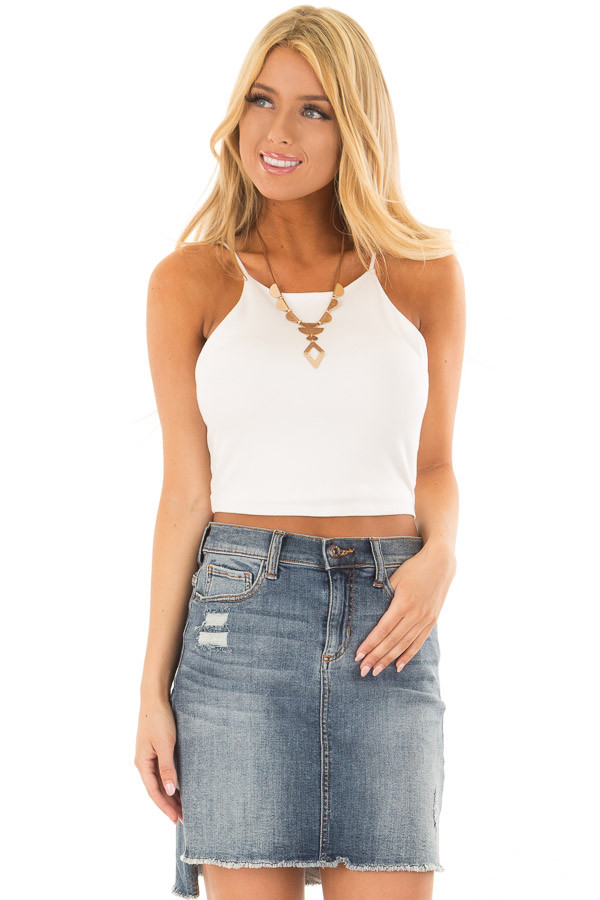 Ivory High Neck Cropped Tank Top front close up