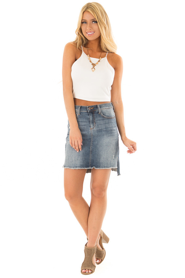 Ivory High Neck Cropped Tank Top front full body