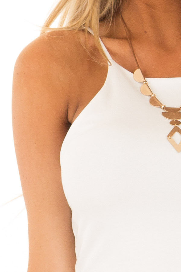 Ivory High Neck Cropped Tank Top detail