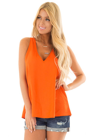 Tangerine V Neck Flowy Tank Top front close up