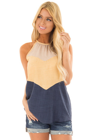 Mustard and Navy Chevron High Neck Tank Top front close up