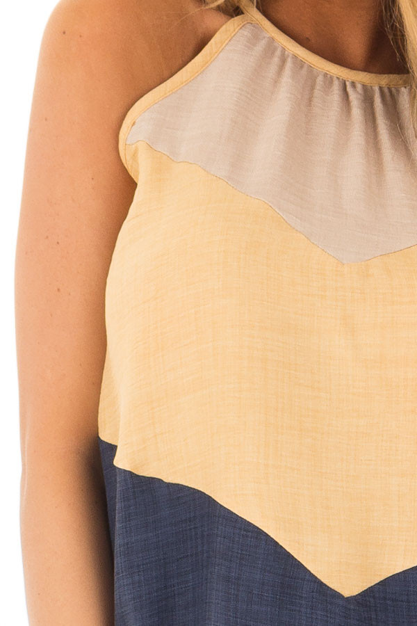 Mustard and Navy Chevron High Neck Tank Top detail