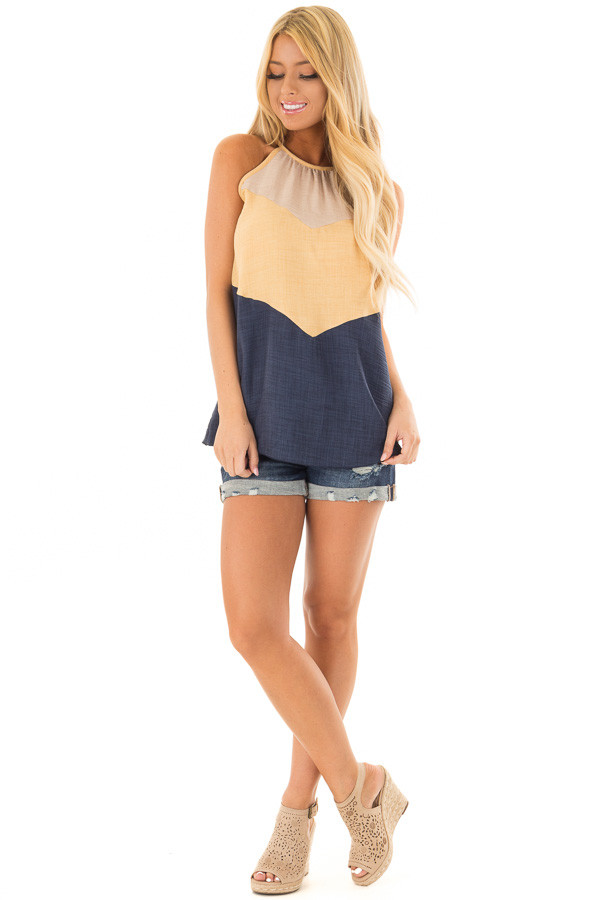 Mustard and Navy Chevron High Neck Tank Top front full body